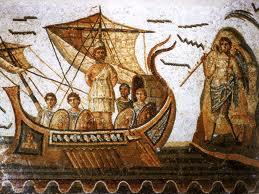 Mosaïque romaine : Ulysse attaché au mât de son navire, afin de ne pas succomber au chant des sirènes.